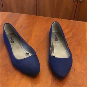 Charlotte Russe blue faux suede ballerina flats